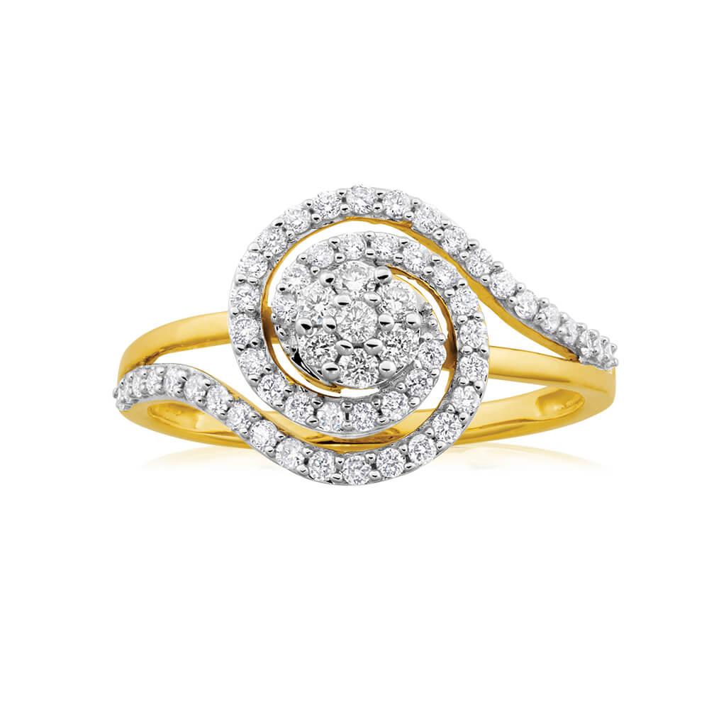 9ct Yellow Gold Diamond Ring Set with 59 Stunning Brilliant Diamonds