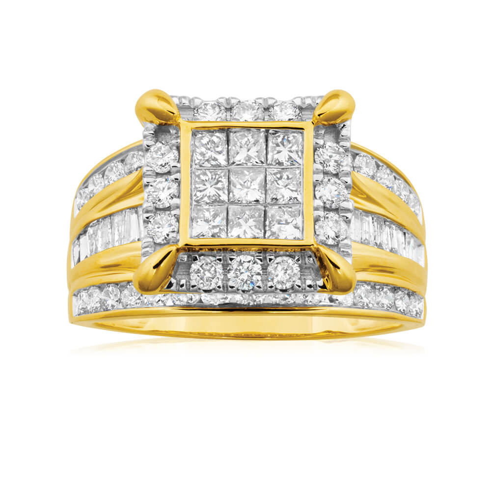 9ct Yellow Gold 2 Carat Diamond Ring Set with 73 Stunning Diamonds