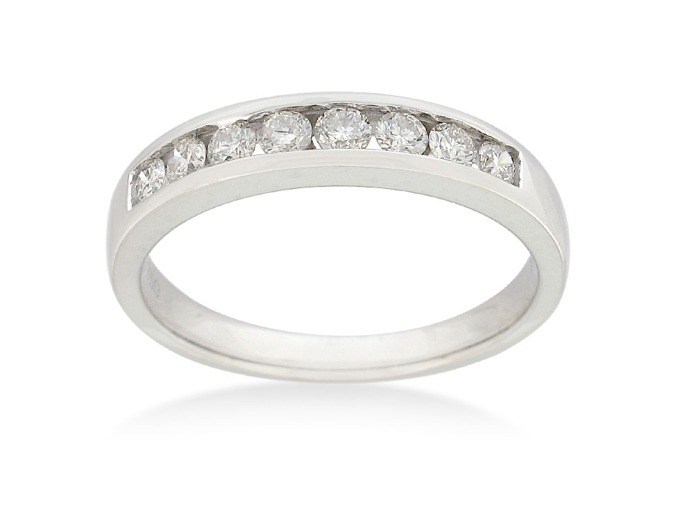 18ct White Gold Eternity Straight Ring with 8 Diamonds