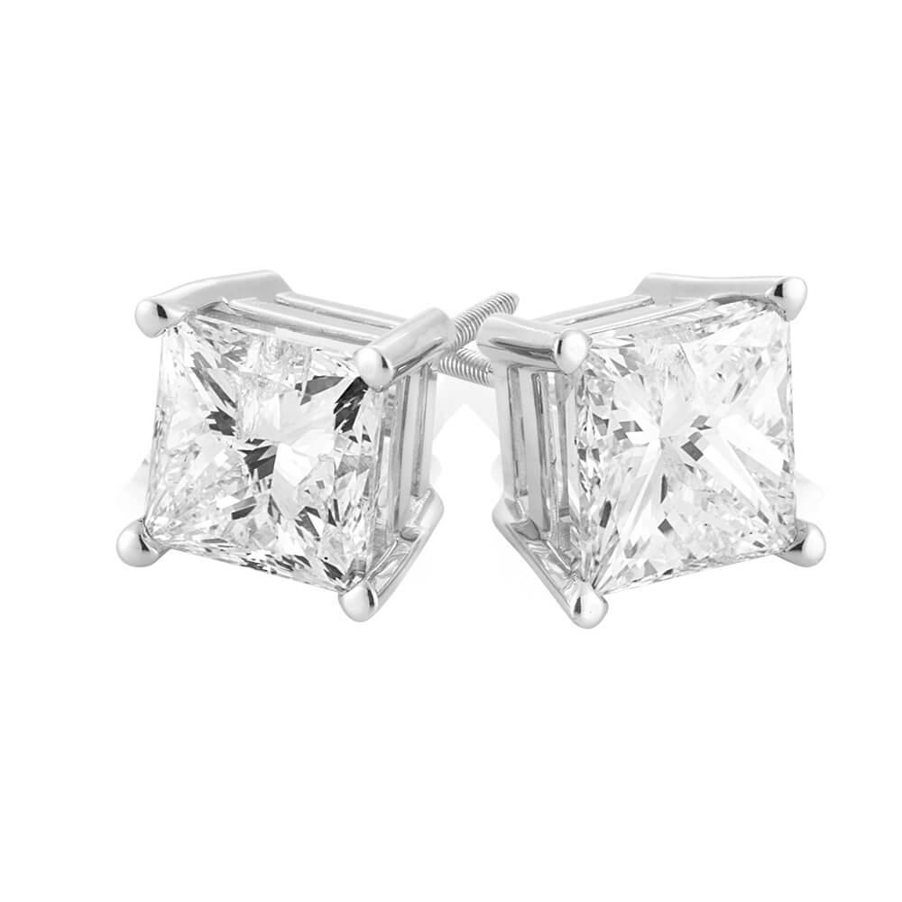 18ct White Gold 3 Carat Certified Diamond Stud Earrings