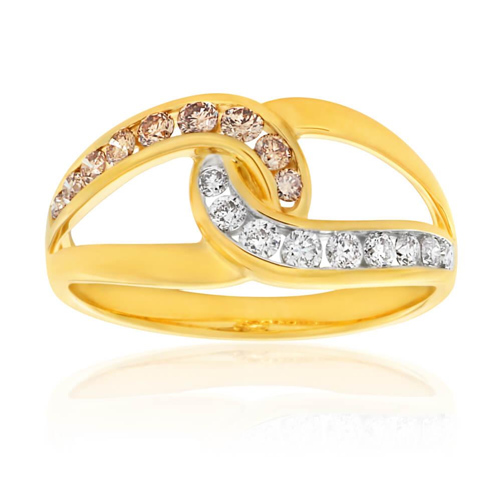 Australian Diamond 9ct Yellow Gold Twist Diamond Ring (TW=50pt)