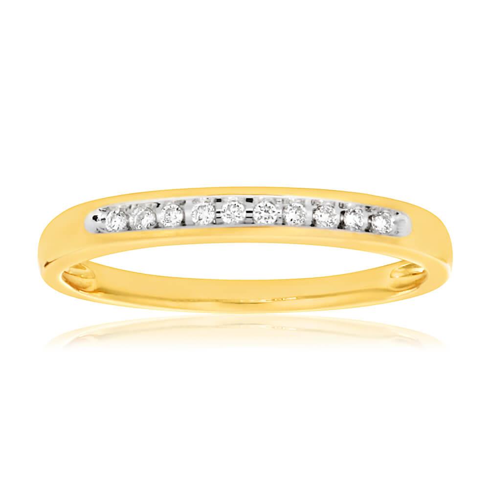 9ct Yellow Gold Diamond Beautiful Ring