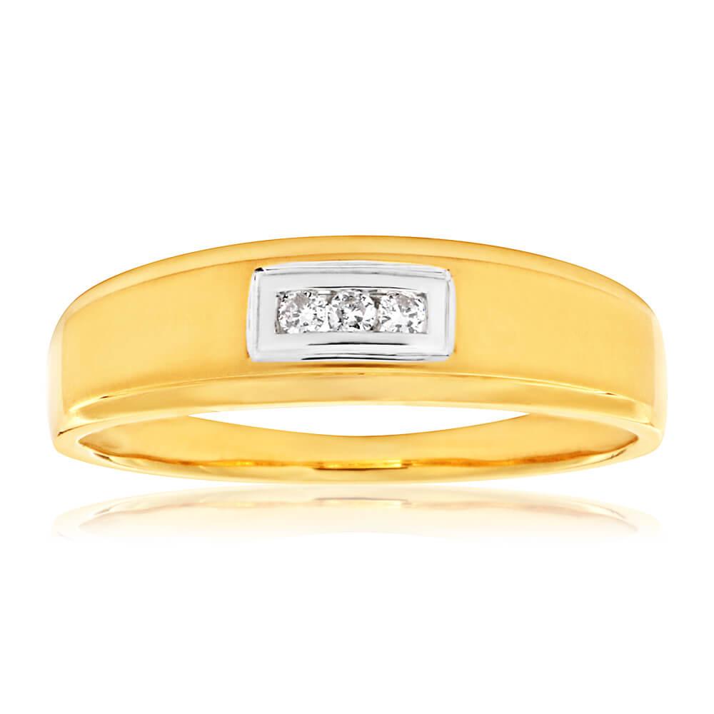 9ct Yellow Gold Matt Polished Gents Ring with 3 Diamonds