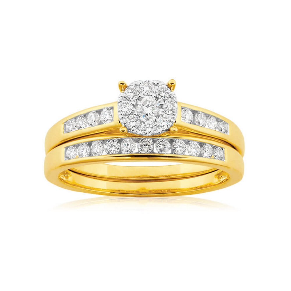 9ct Yellow Gold 2 Ring Bridal Set With 0.5 Carats Of Brilliant Cut Diamonds