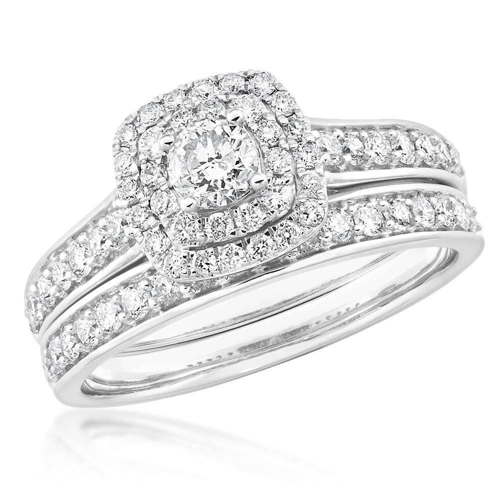 9ct White Gold 2 Ring Bridal Set With 65 Diamonds Totalling 1 Carat