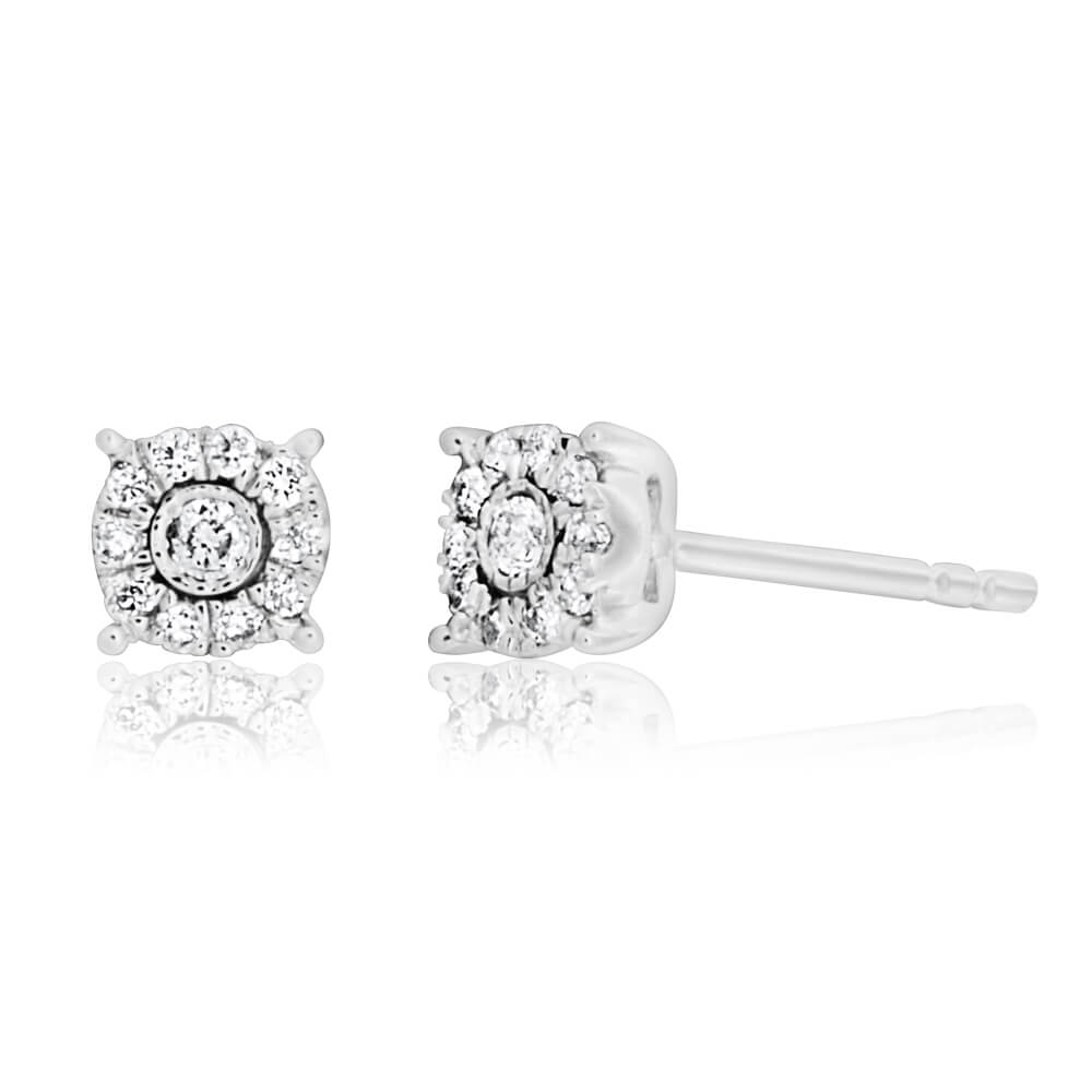 9ct White Gold Sublime Diamond Stud Earrings