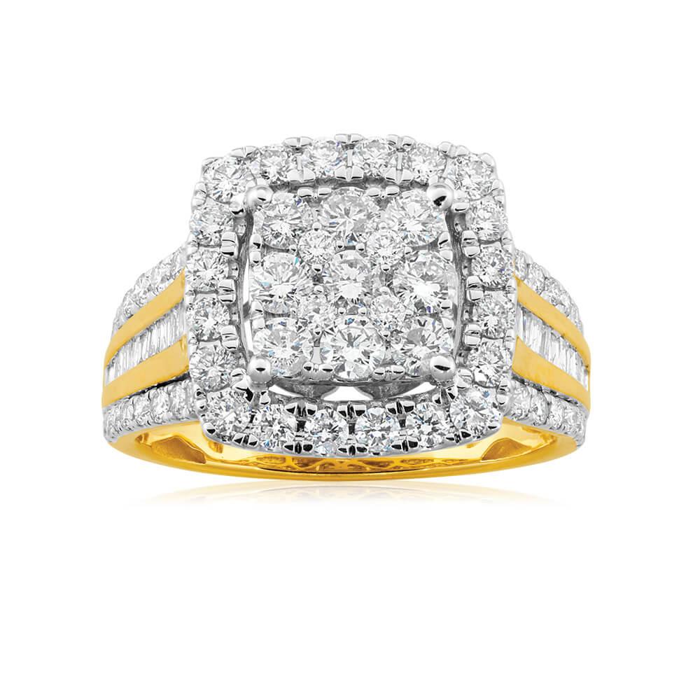 9ct Yellow Gold Diamond Ring Set With 83 Brilliant Cut Diamonds