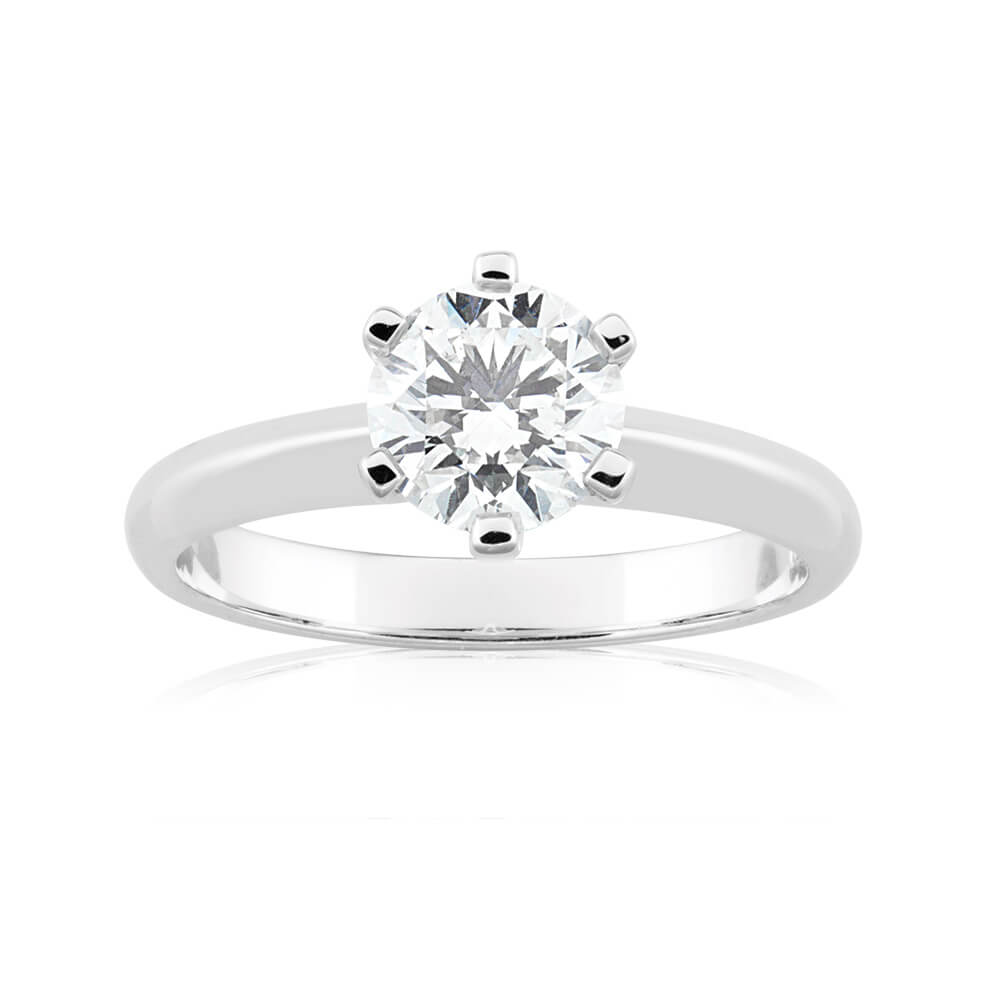 18ct White Gold Solitaire Ring With 1 Carat Diamond