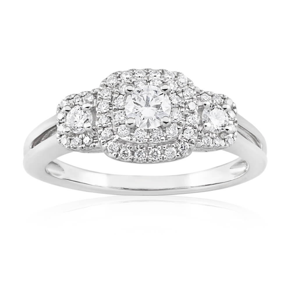 Blissful Bride 14ct White Gold Diamond 0.5 Carat Trilogy Ring