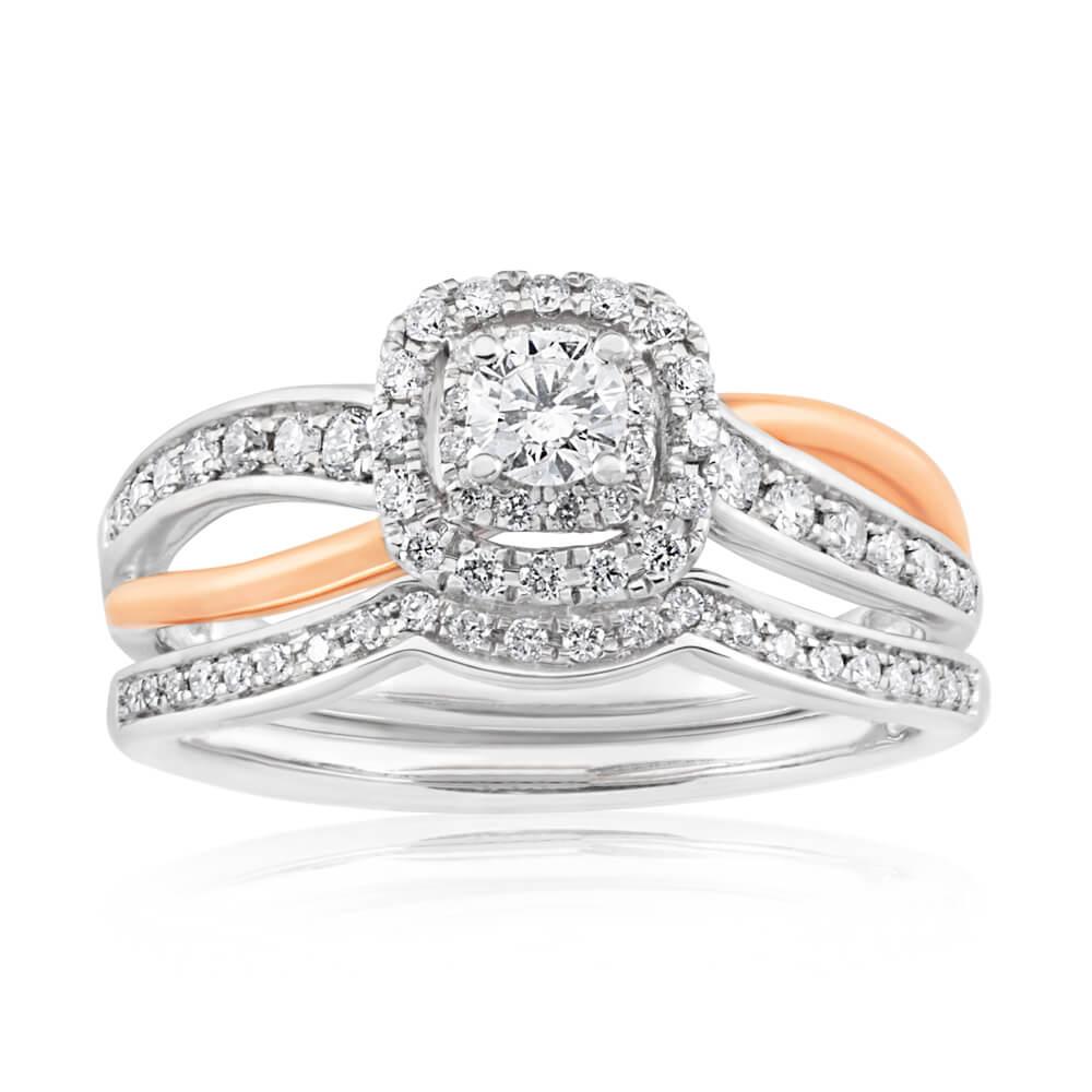 Blissful Bride 14ct White Gold 0.50 Carat Diamond Bridal Set with Rose Gold Rhodium