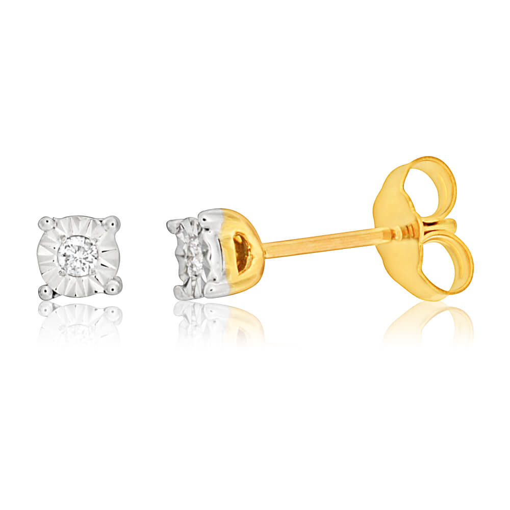 9ct Yellow Gold & White Gold Dazzling Diamond Stud Earrings