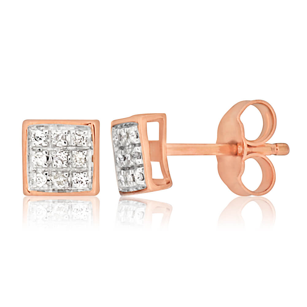 9ct Rose Gold Stud Earrings With 18 Brilliant Cut Diamonds