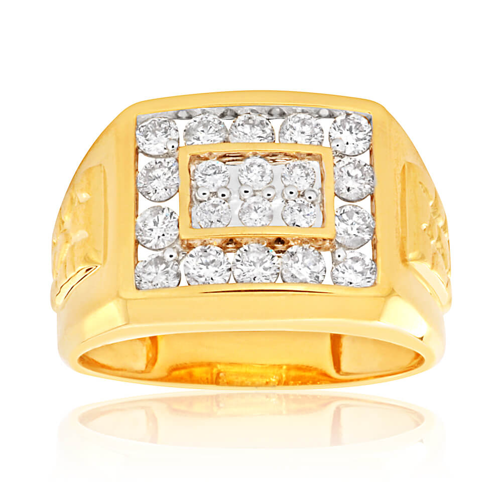9ct Yellow Gold 1 Carat Diamond Ring Set With 20 Brilliant Cut Diamonds