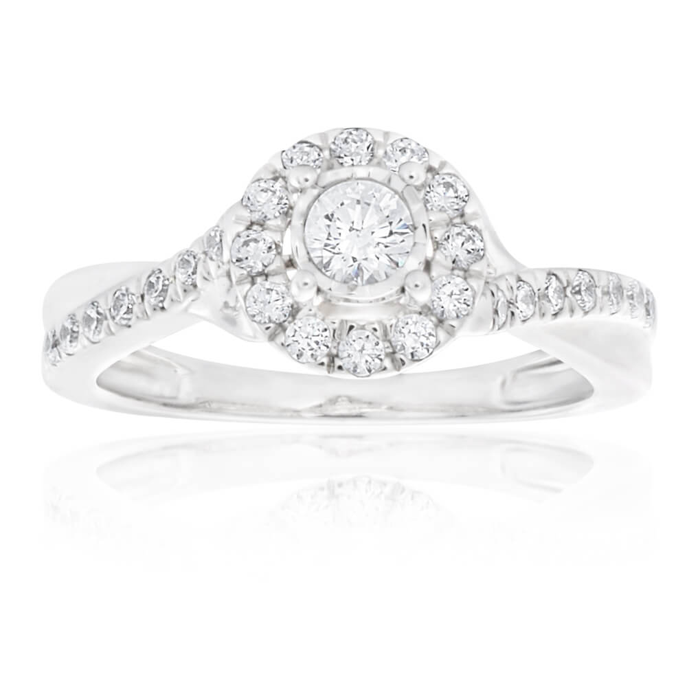 9ct White Gold Ring With 0.5 Carats Of Diamonds