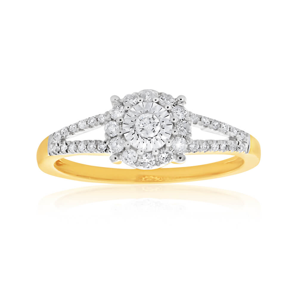 9ct Yellow Gold Alluring Diamond Ring With 0.25 Carats Of Brilliant Cut Diamonds