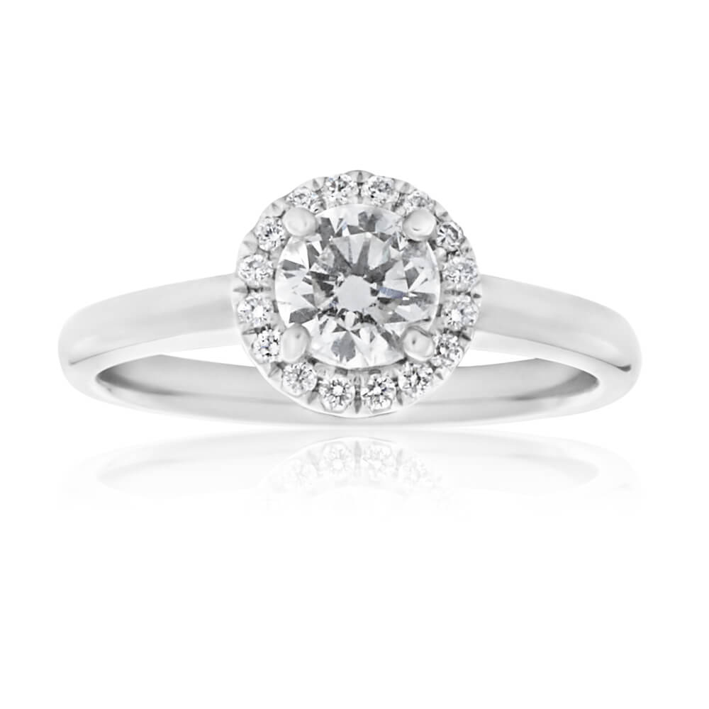 18ct White Gold Solitaire with 1/2 Carat Certified Centre Diamond