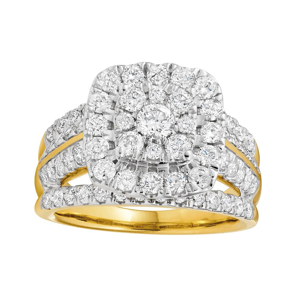 9ct Yellow Gold Diamond Brilliant Halo Ring