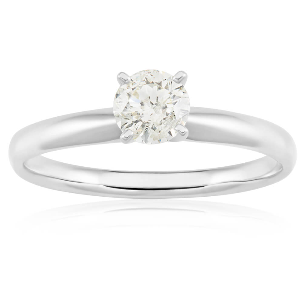 14ct White Gold Solitaire Ring With 50 Point Brilliant Cut Diamond