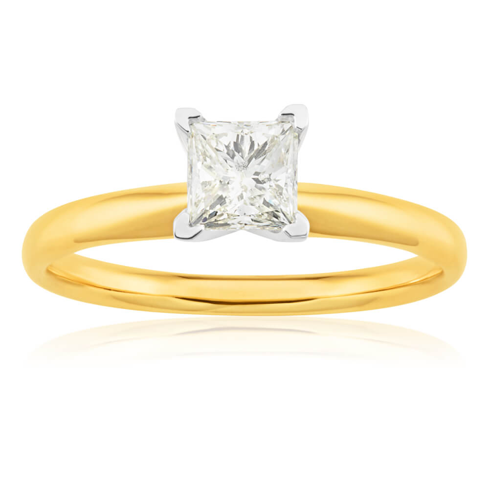 14ct Yellow Gold & White Gold Solitaire Ring With 1 Carat Princess Cut Diamond