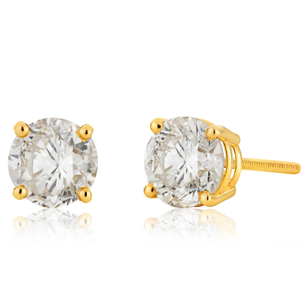 14ct Yellow Gold Diamond Stud Earrings with Appoximately 1.5 Carats of Diamonds