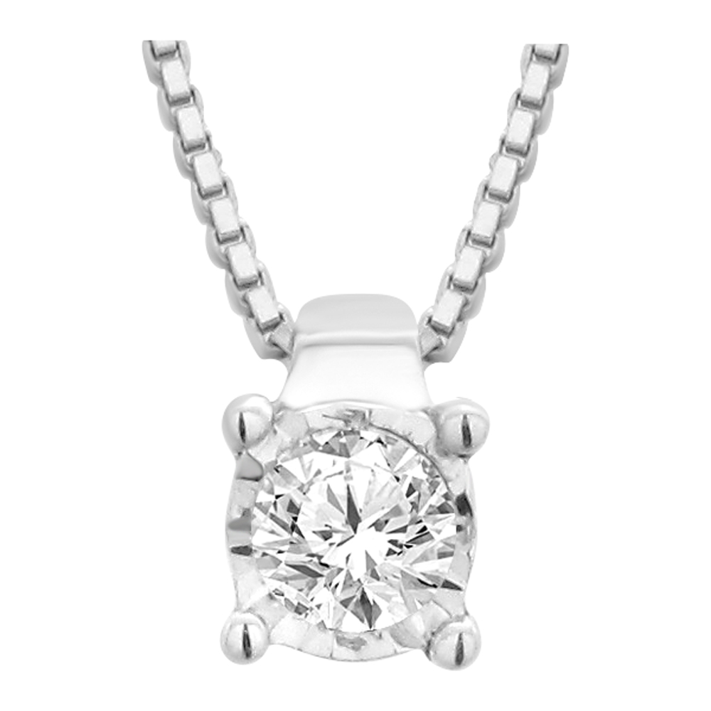 9ct White Gold Dazzling Diamond Pendant With 45cm Chain
