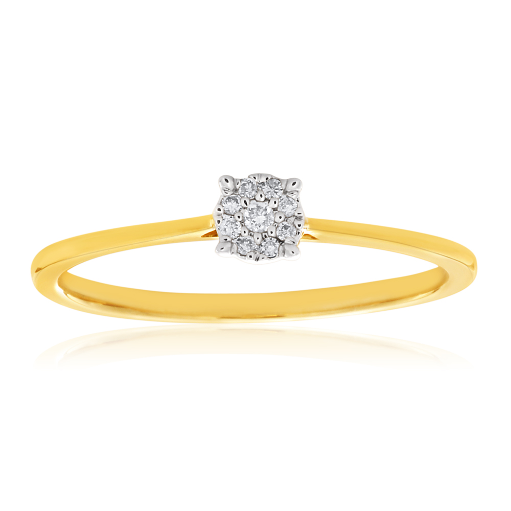 9ct Yellow Gold Ring With 0.05 Carats Of Diamonds and Infinity Detail on Side Profile