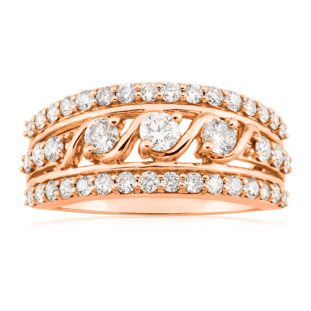 9ct Rose Gold 1 Carat Diamond Ring set with 41 Brilliant Cut Diamonds