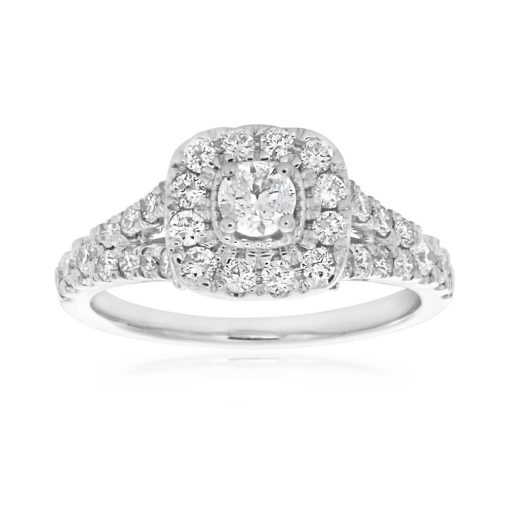 9ct White Gold Ring With 1.00 Carat Of Diamonds On Split Shank