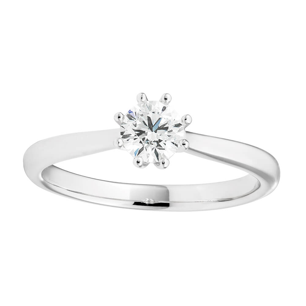 18ct White Gold Solitaire Ring With 0.5 Carat Certified 6 Claw Set Diamond