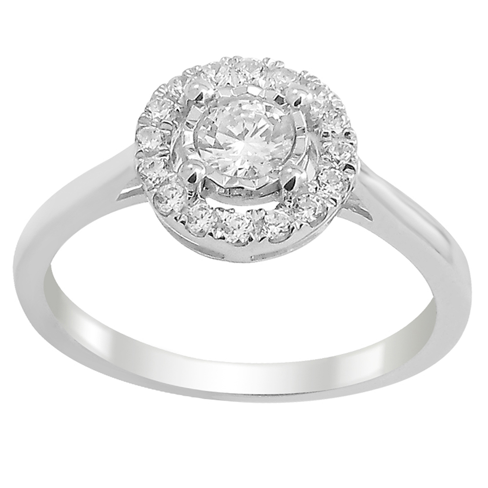 9ct White Gold  Carat Diamond Halo Ring set with 17 Brilliant Diamonds