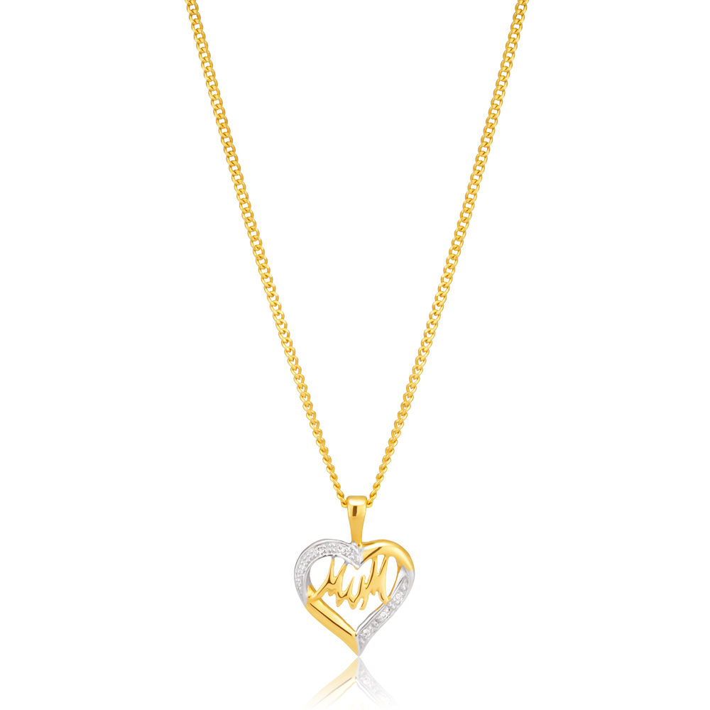 9ct Yellow Gold Mum Diamond Heart Pendant