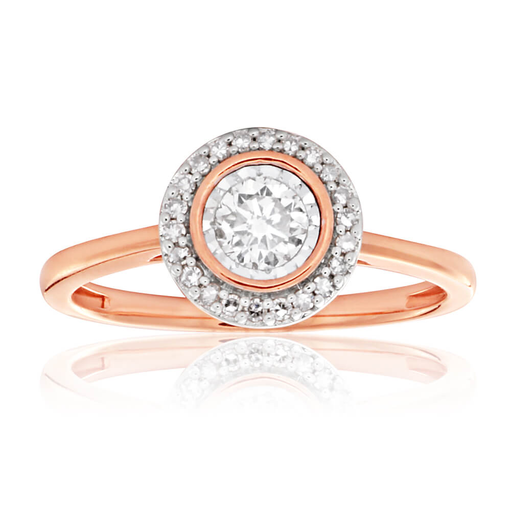 9ct Rose Gold 1/3 Carat Ring with 1/4 Carat Centre Diamond Surrounded by Diamond Halo