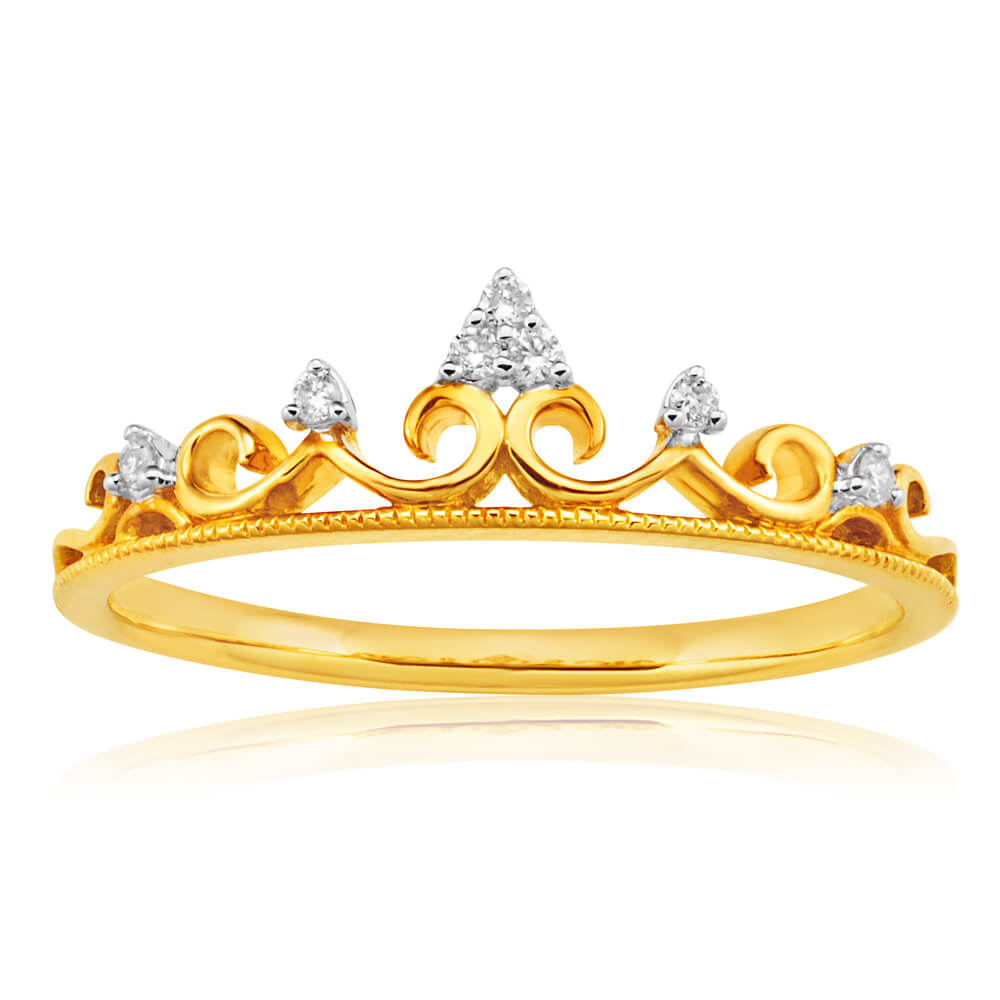 9ct Yellow Gold Crown Ring with 7 Diamonds