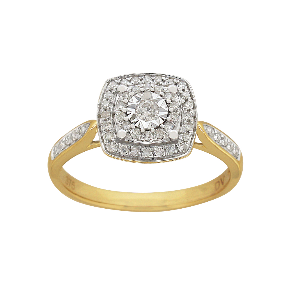 9ct Yellow Gold Ring With 0.25 Carats Of Claw Set Diamonds