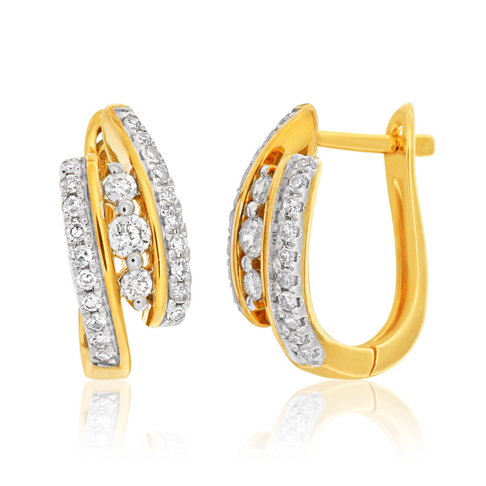 9ct Yellow Gold Earrings Set With 0.35 Carat Of White Diamonds