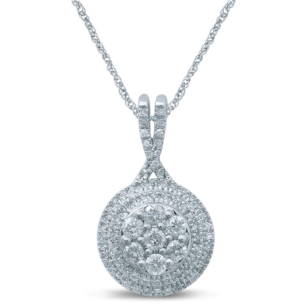9ct White Gold 1/3 Carat Diamond Double Halo Round Pendant on 45cm Chain