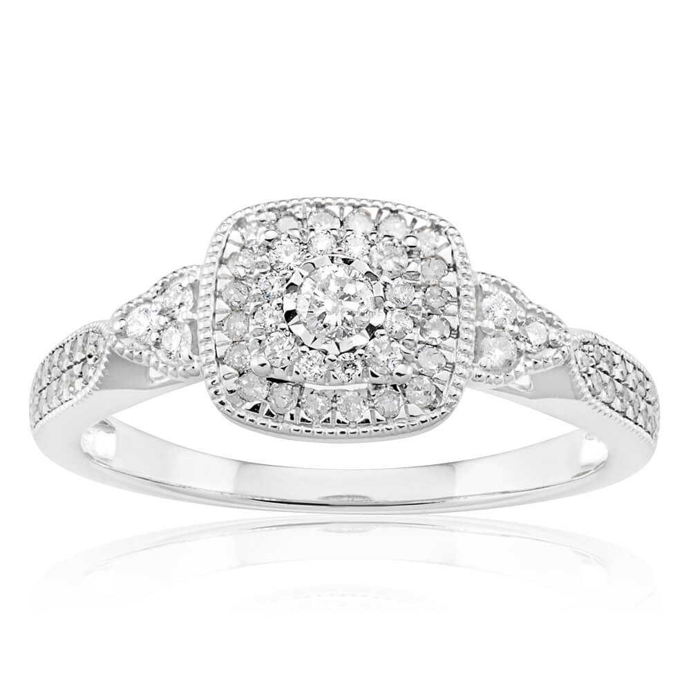 9ct White Gold Ring With 0.35 Carats Of Diamonds