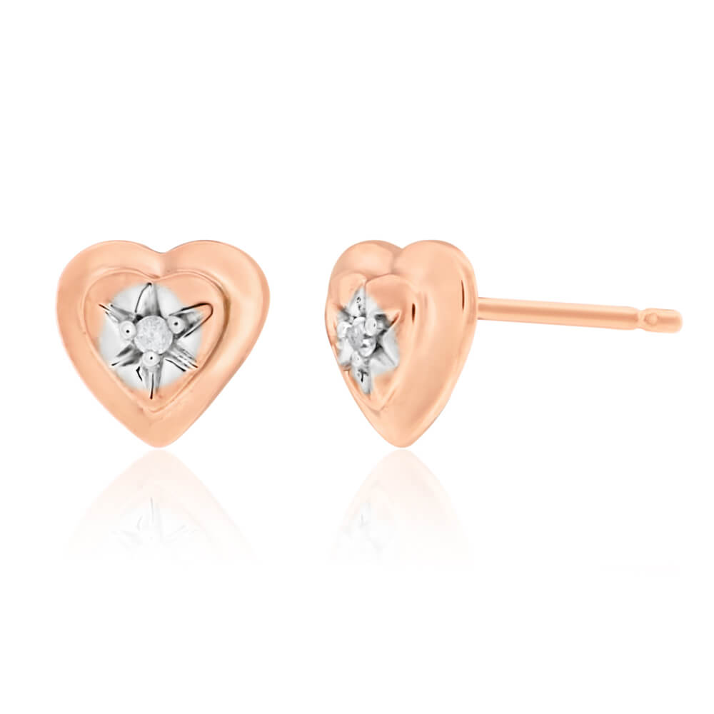 9ct Rose Gold Heart Earrings Set With 2 White Diamonds