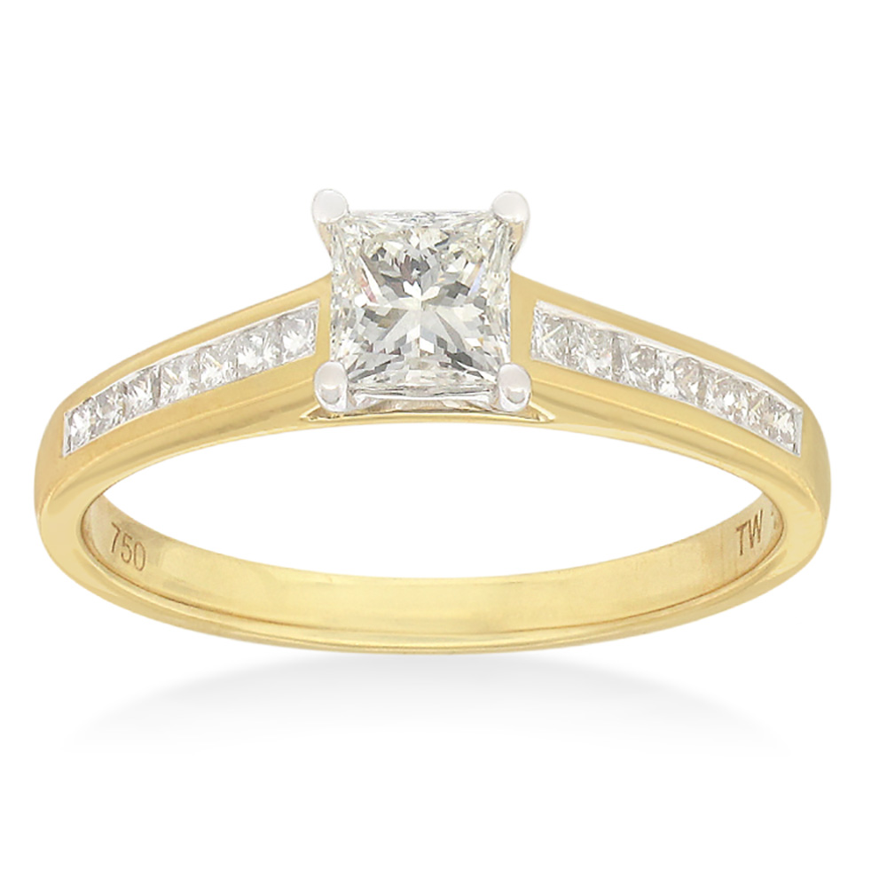 18ct Yellow Gold & White Gold 'Monica' Ring With 0.75 Carats Of Certified Diamonds