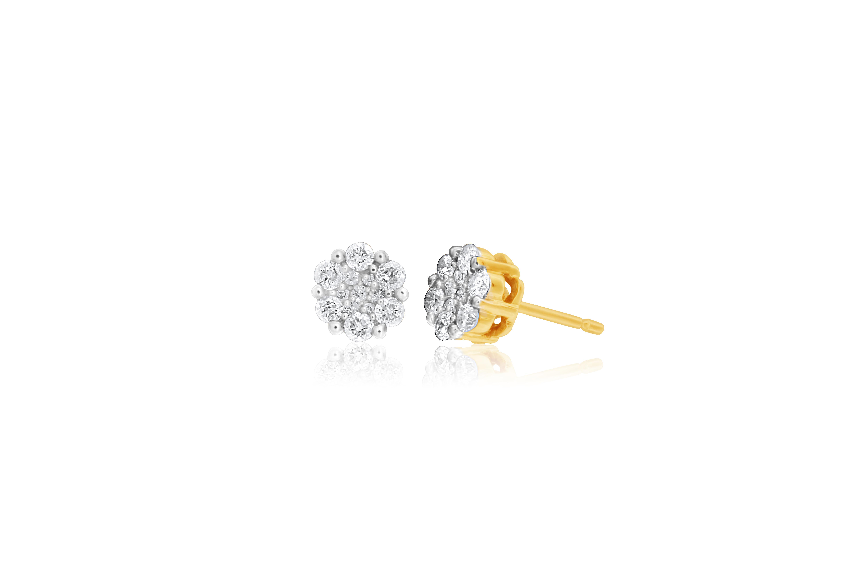Snowflake 9ct Yellow Gold Diamond Shining Stud Earrings