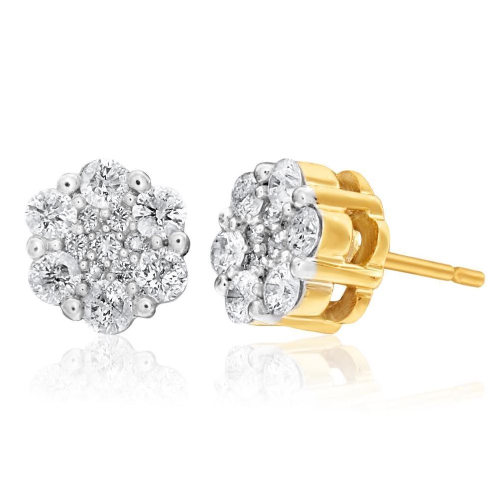 Snowflake 9ct Yellow Gold Diamond Love Stud Earrings