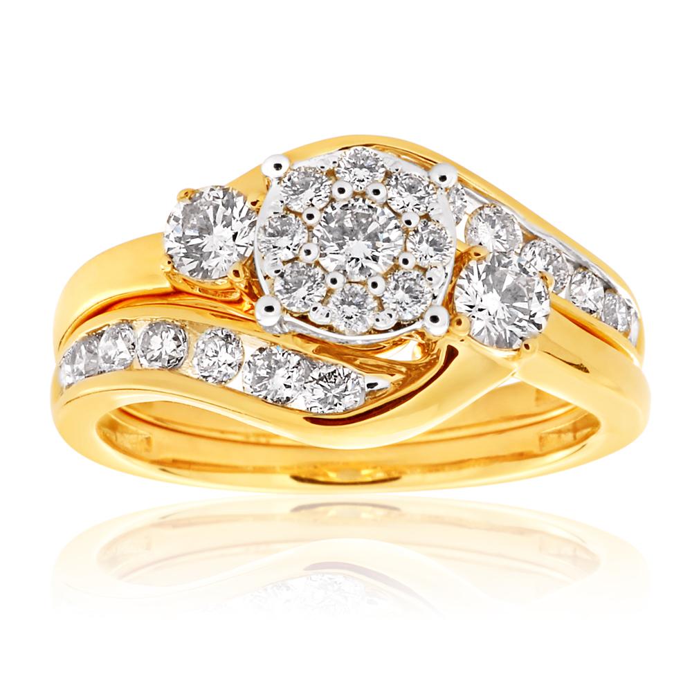 9ct Yellow Gold 2 Ring Bridal Set With 25 Diamonds Totalling 1 Carat