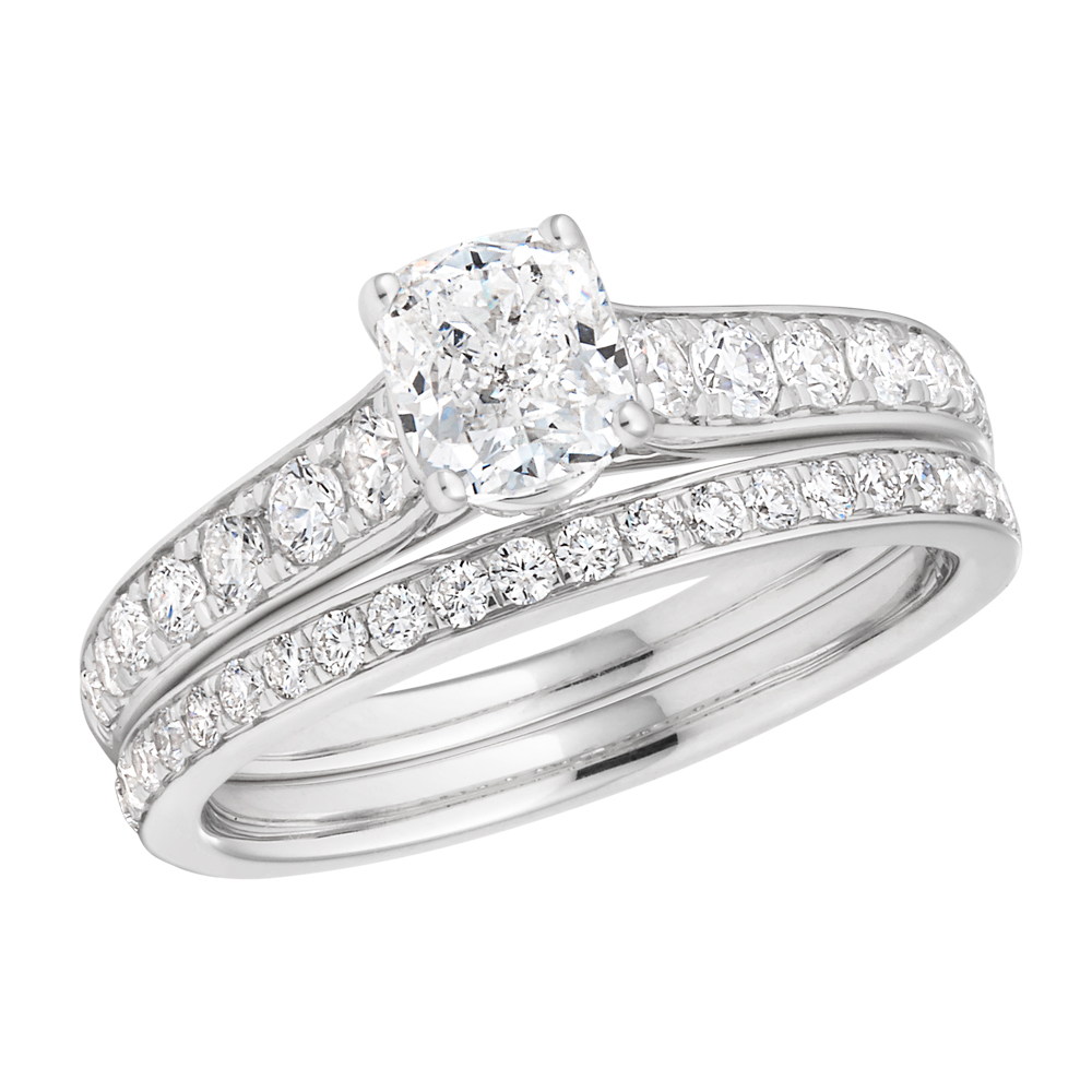 14ct 1.60 Carat White Gold Solitaire With Carat Cushion Cut Centre Diamond.