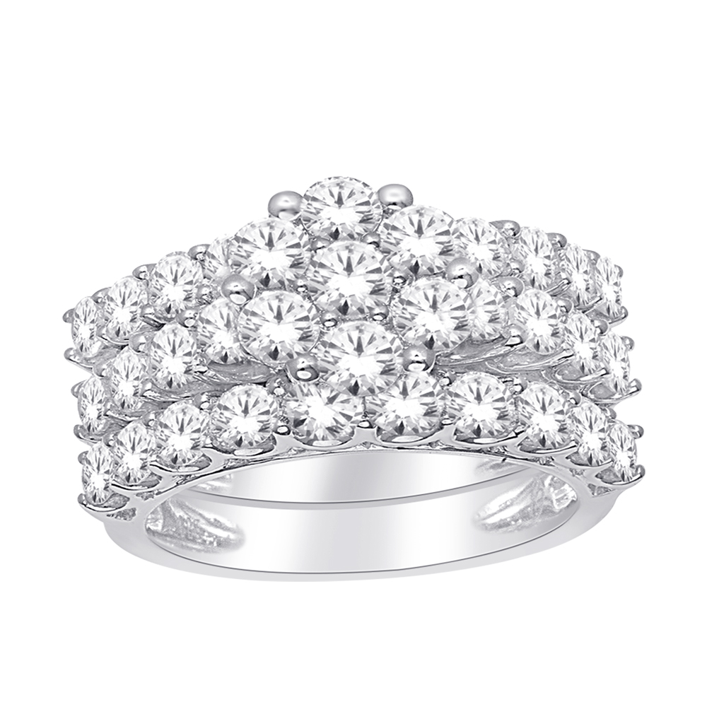 10ct White Gold 3-Ring Bridal Set with 2.00 Carat Brilliant Diamonds