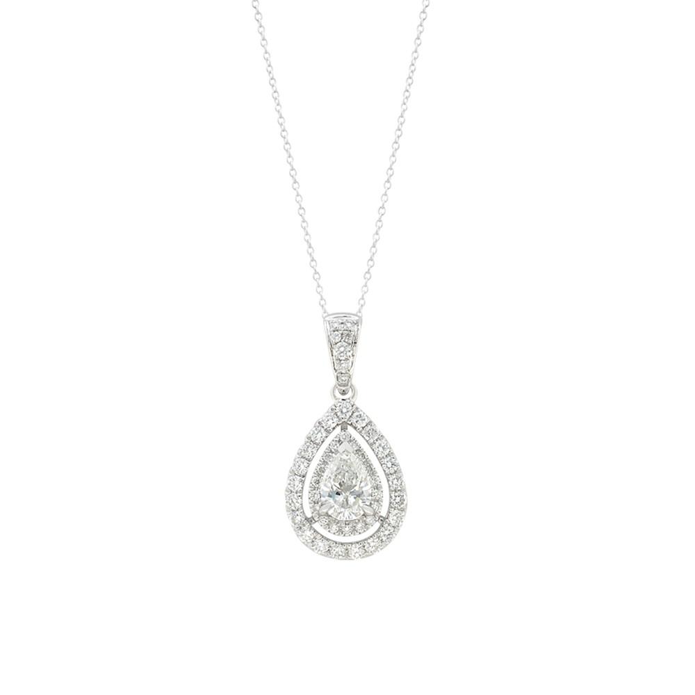18ct White Gold 0.70 Carat Diamond Pear Cut Pendant with 45cm Chain
