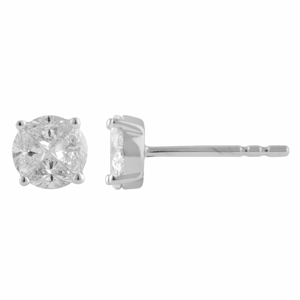 SEAMLESS LOVE  9ct White Gold Stud Earrings with 0.55 Carat of Diamonds