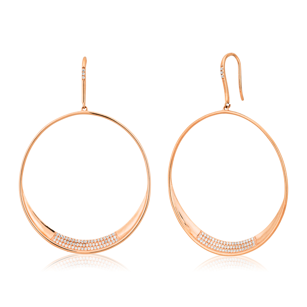 9ct Rose Gold Round Drop Earrings with  1/3 Carat of Diamonds