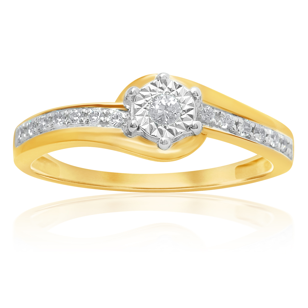 9ct Yellow Gold Solitaire Ring with 0.15 Carat of Diamonds
