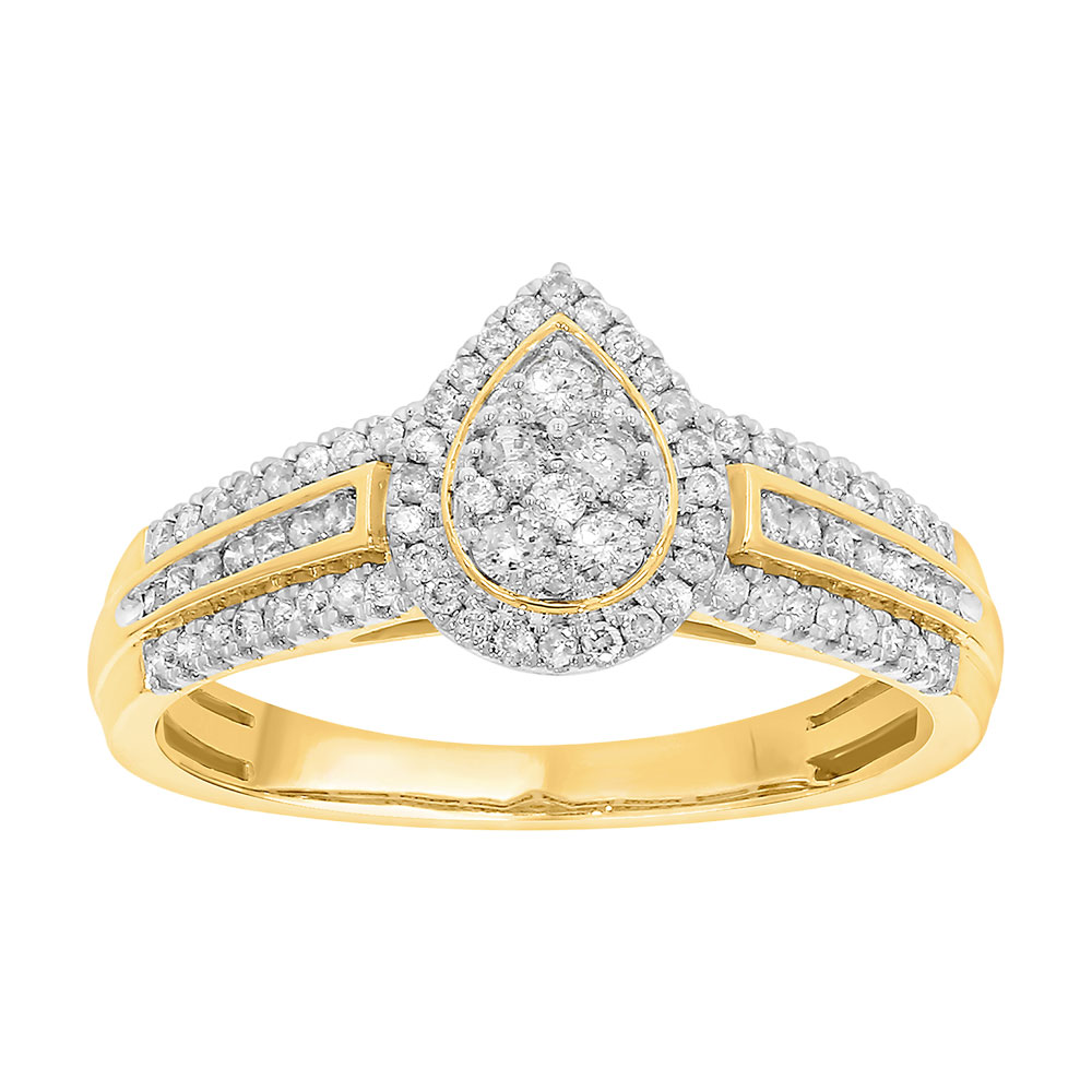 9ct Yellow Gold Ring with 1/2 Carat of Diamonds