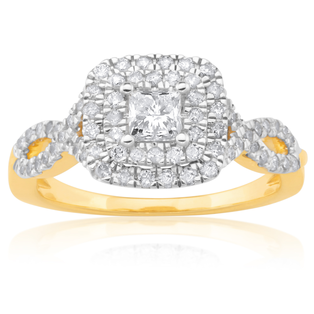 9ct Yellow Gold Ring with 3/4 Carat of Diamonds